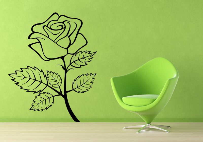 Buy Decor Kafe Decal Style Rose Flower Outline Wall Sticker online