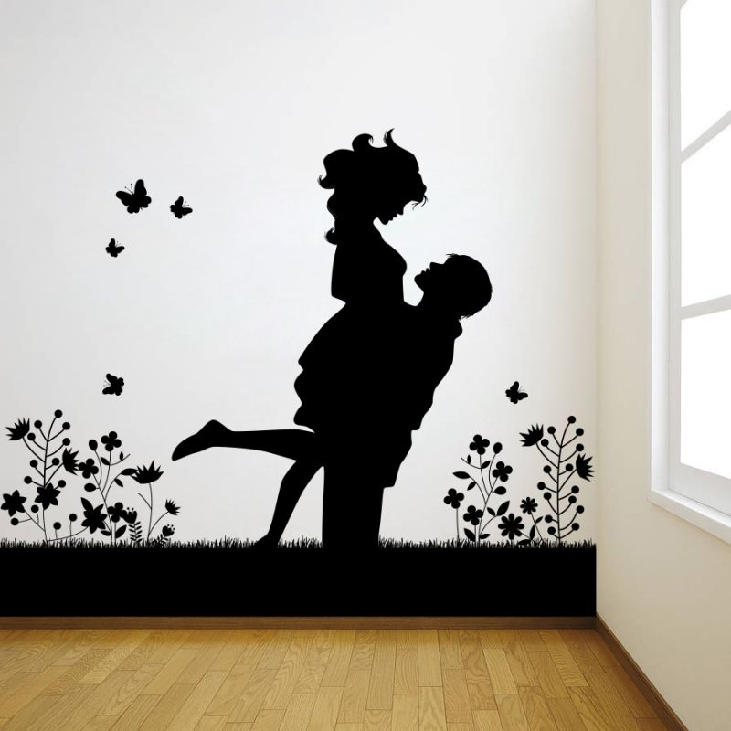 Buy Decor Kafe Decal Style Lovely Couple Large Wall Sticker online