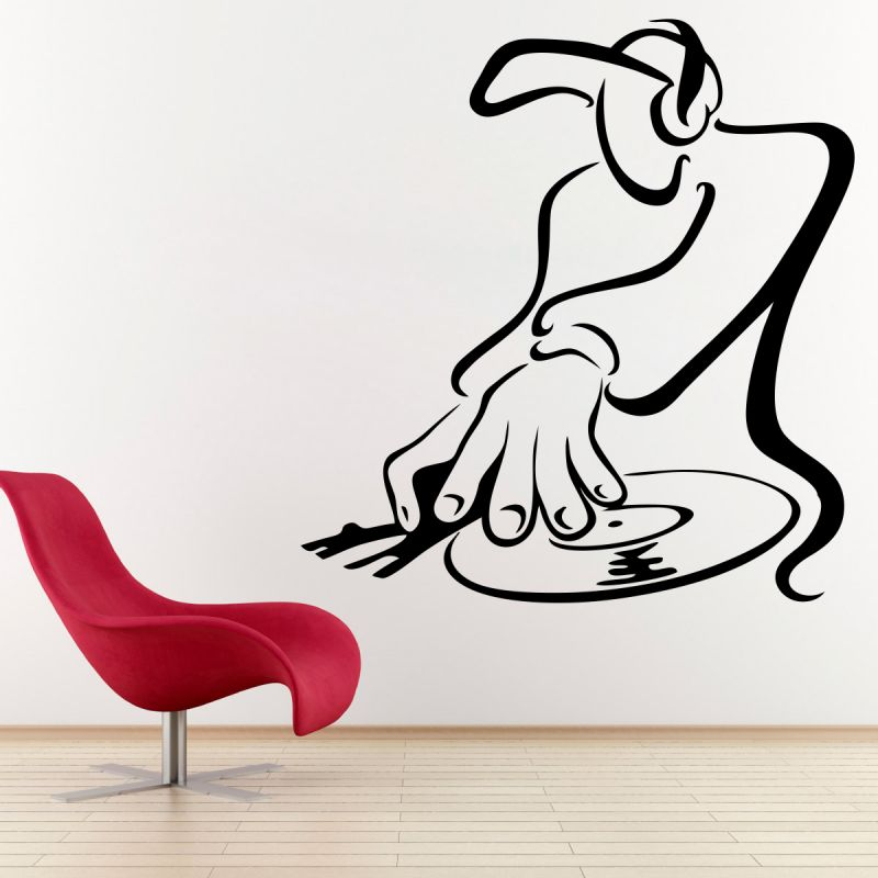 Buy Decor Kafe Decal Style Deejay Playing Decks Small Wall Sticker online