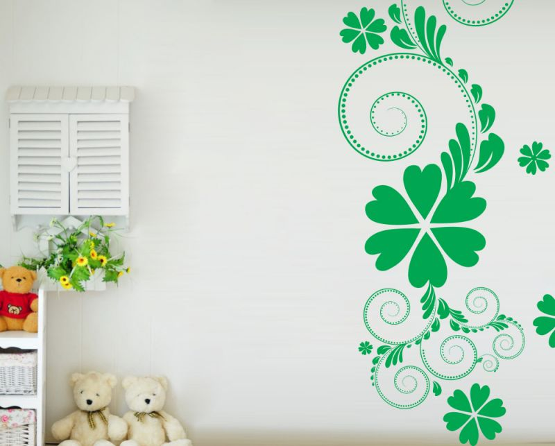Buy Decor Kafe Decal Style Green Flower Floral Wall Sticker online