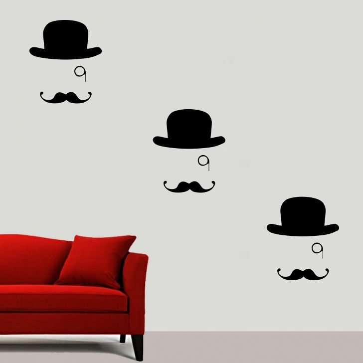 Buy Decor Kafe Decal Style Hat And Moustache Small Wall Sticker online