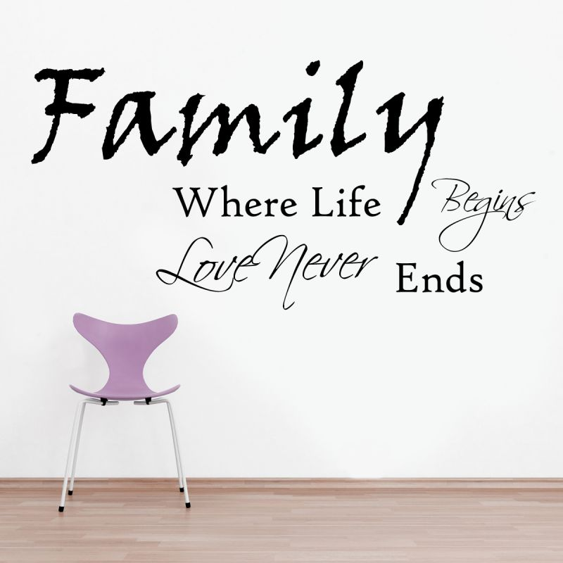 Buy Decor Kafe Decal Style Family Never Ends Wall Sticker online