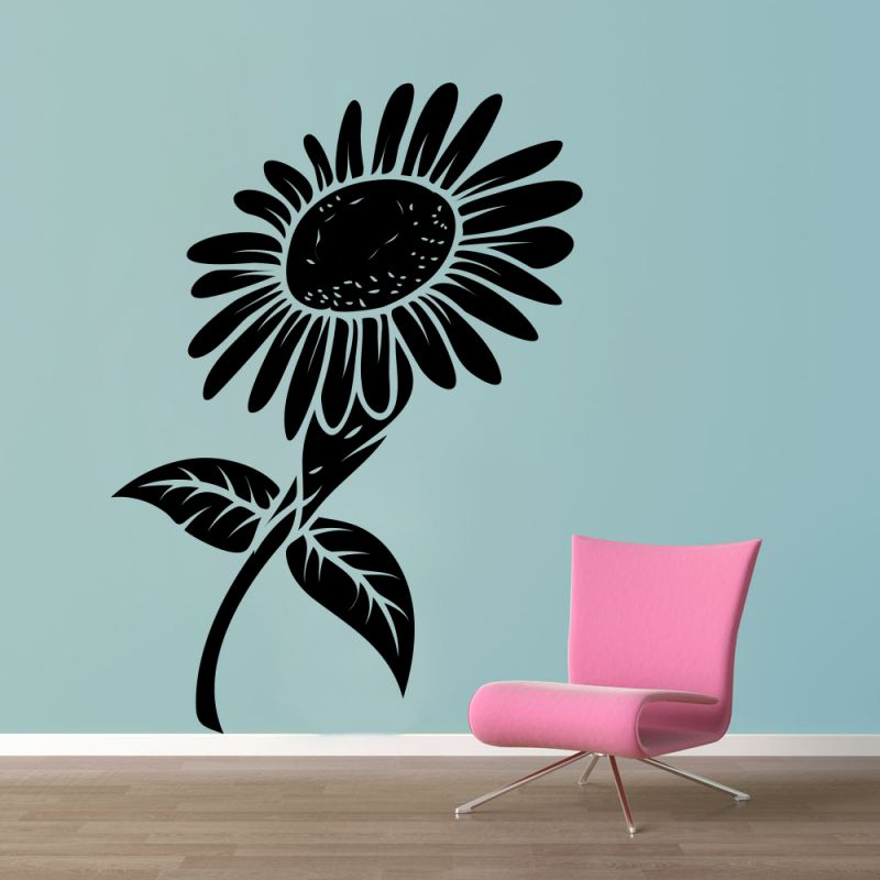 Buy Decor Kafe Decal Style Black Sunflower Wall Sticker online