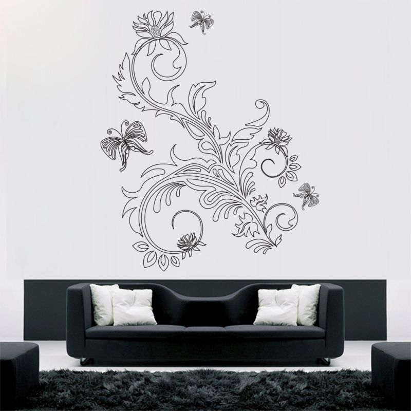 Buy Decor Kafe Decal Style Floral Butterflies Wall Sticker online