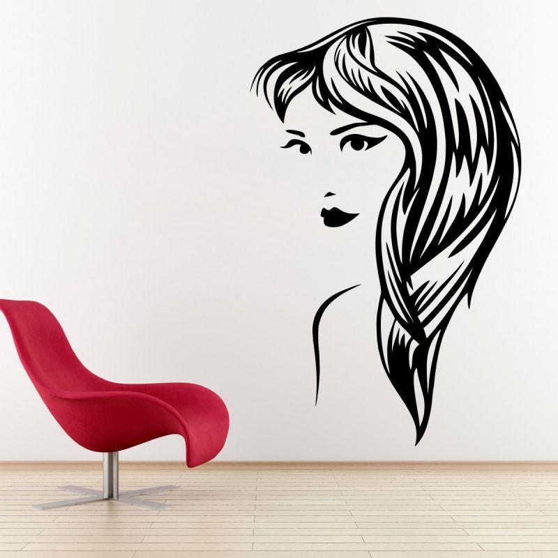 Buy Decor Kafe Decal Style Female Portrait Medium Wall Sticker online