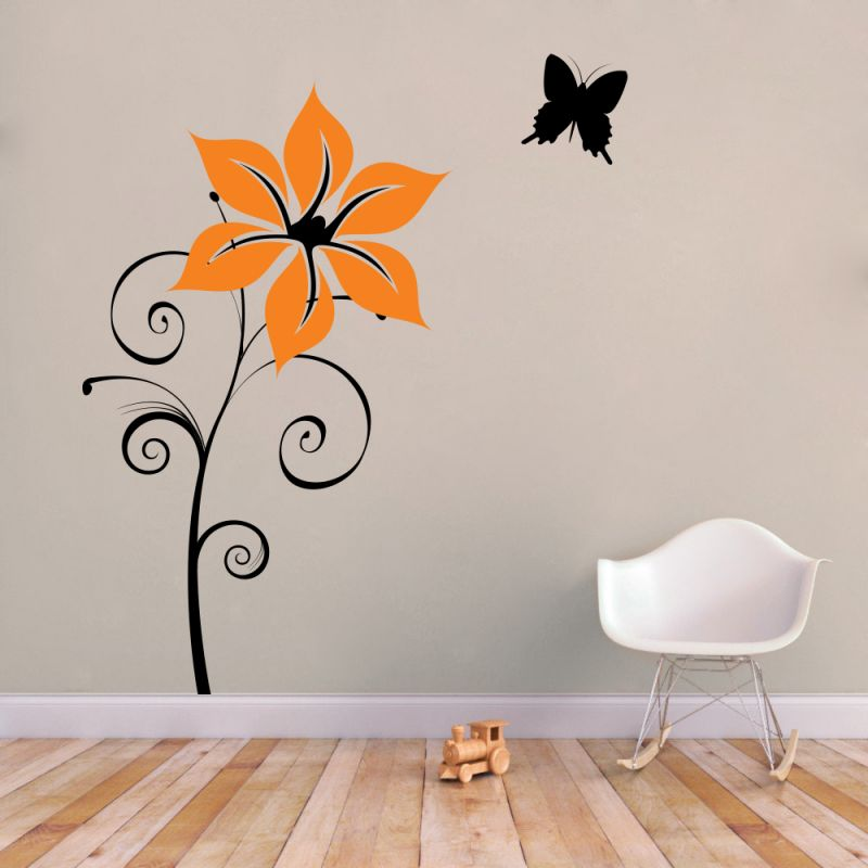 Buy Decor Kafe Decal Style Sunflower With Butterfly Wall Sticker online