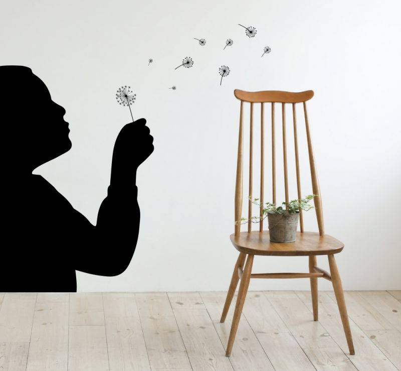 Buy Decor Kafe Decal Style Boy Playing With A Dandelion Wall Sticker online