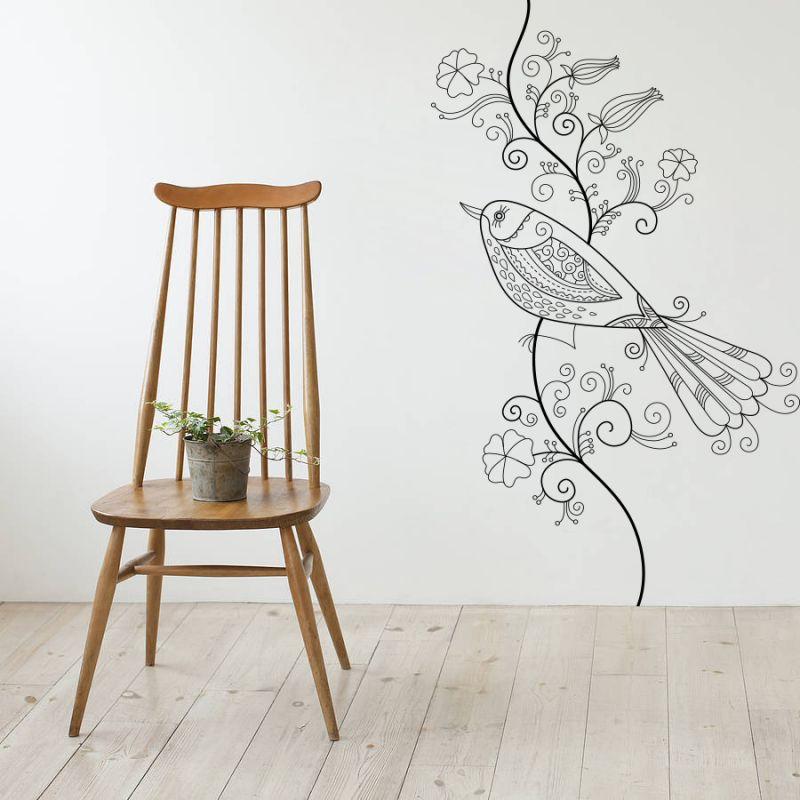 Buy Decor Kafe Decal Style Bird Floral Wall Sticker online