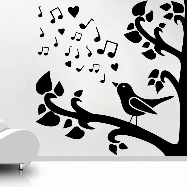 Buy Decor Kafe Decal Style Bird Singing On Tree Small Wall Sticker online