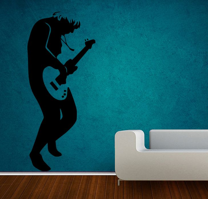 Buy Decor Kafe Decal Style Rock Guitarist Medium Wall Sticker online