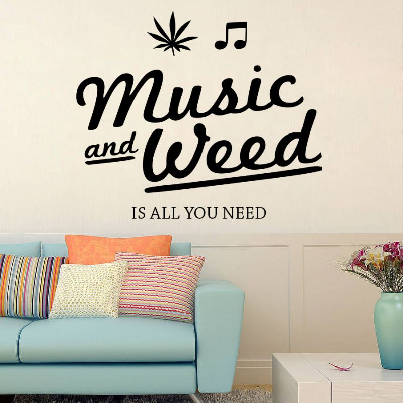 Buy Decor Kafe Decal Style Music And Weed Medium Wall Sticker online