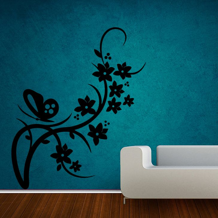 Buy Decor Kafe Decal Style Butterfly On Branch Small Wall Sticker online