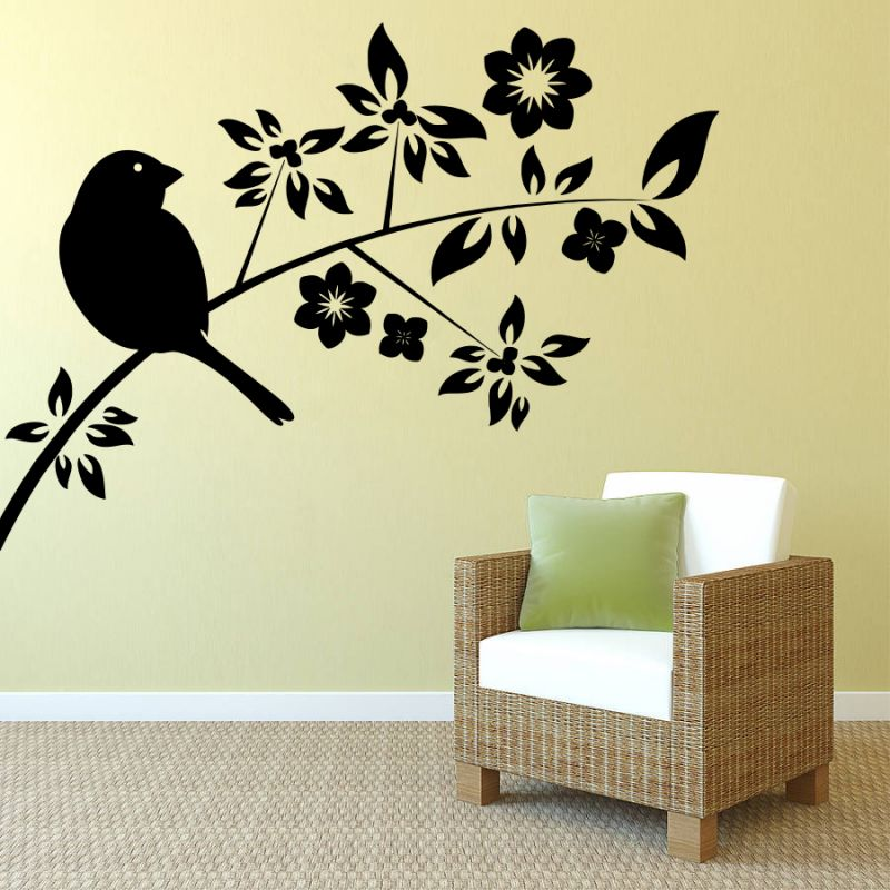 Buy Decor Kafe Decal Style Sparrow On A Branch Small Wall Sticker online