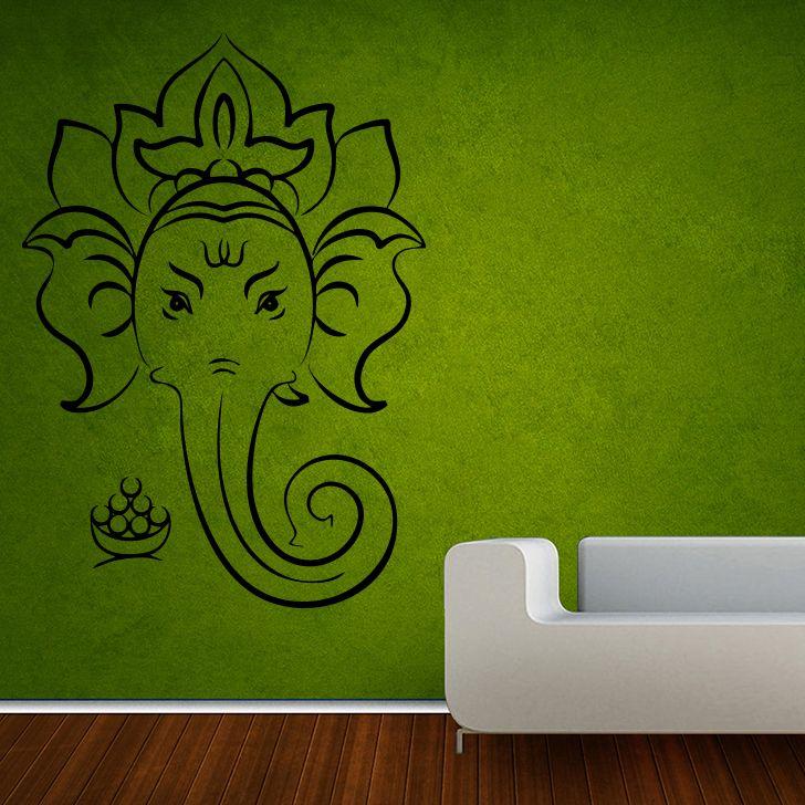 Buy Decor Kafe Decal Style Shree Ganesha Outline Medium Wall Sticker online