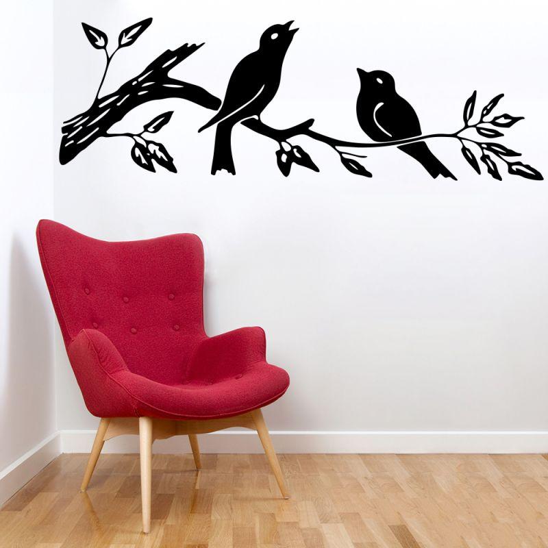 Buy Decor Kafe Decal Style Sparrow On Branch Medium Wall Sticker online