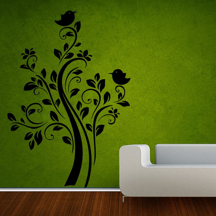 Buy Decor Kafe Decal Style Birds Floral Medium Wall Sticker online