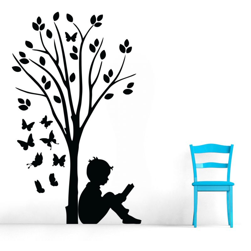Buy Decor Kafe Decal Style Boy Reading Under Tree & Butterflies Large Wall Sticker online