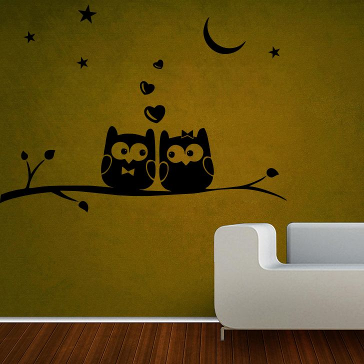 Buy Decor Kafe Owls On Branch Small Wall Sticker online