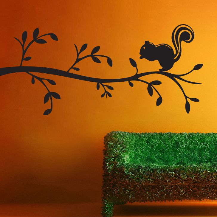 Buy Decor Kafe Decal Style Squirrel On Bunch Small Wall Sticker online