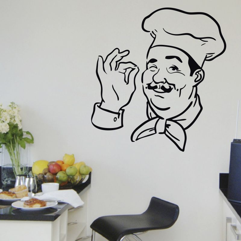 Buy Decor Kafe Decal Style Chef Print Small Wall Sticker online