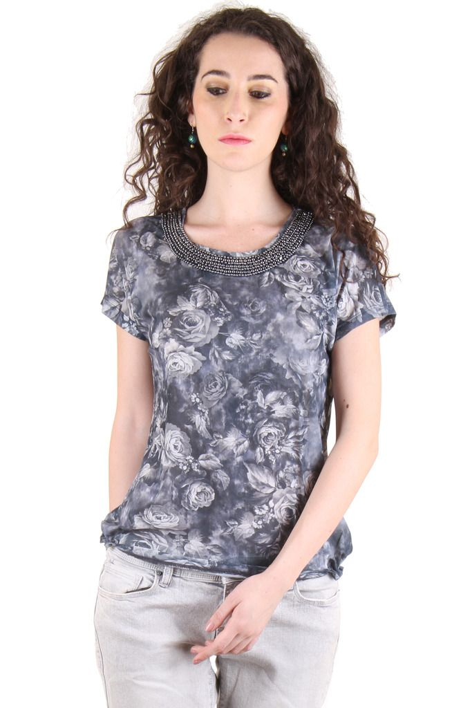Buy Chimera Grey Short Sleeve Printed Polyester Round Neck T Shirt For Women online