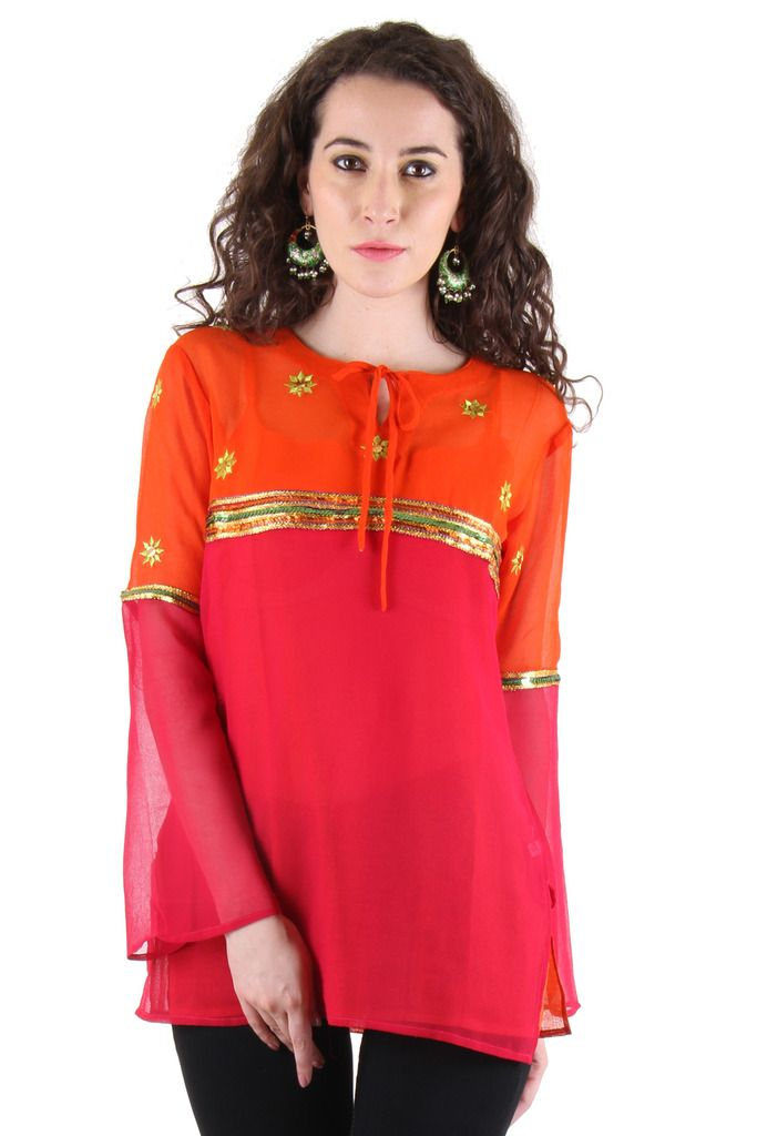 Buy Chimera Red Full Sleeve Solid Polyester Round Neck Top For Women online