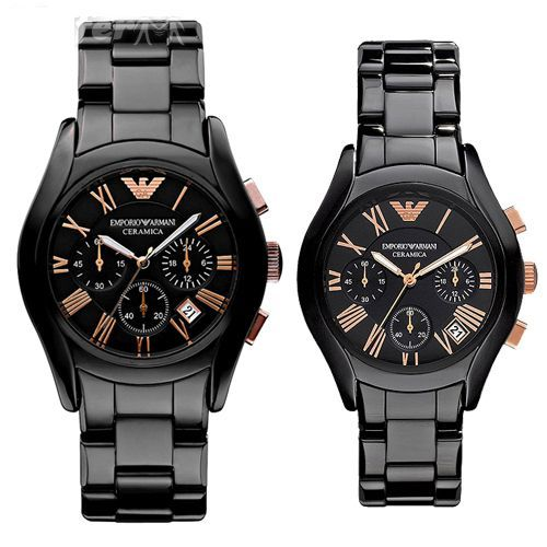 Buy Imported Emporio Armani  Couple Watches, Black Ceramic Pair online