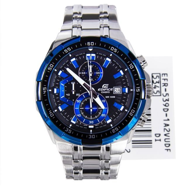 Buy Imported Casio Efr-539 1a2v Chronograph Mens Watch Blue Dial Steel Chain online