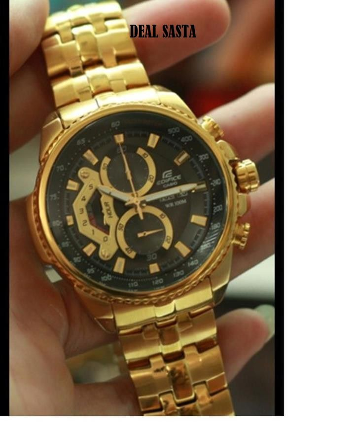 buy imported casio edifice 558 black dial full gold chain watch imported casio edifice 558 black dial full gold chain watch for men close
