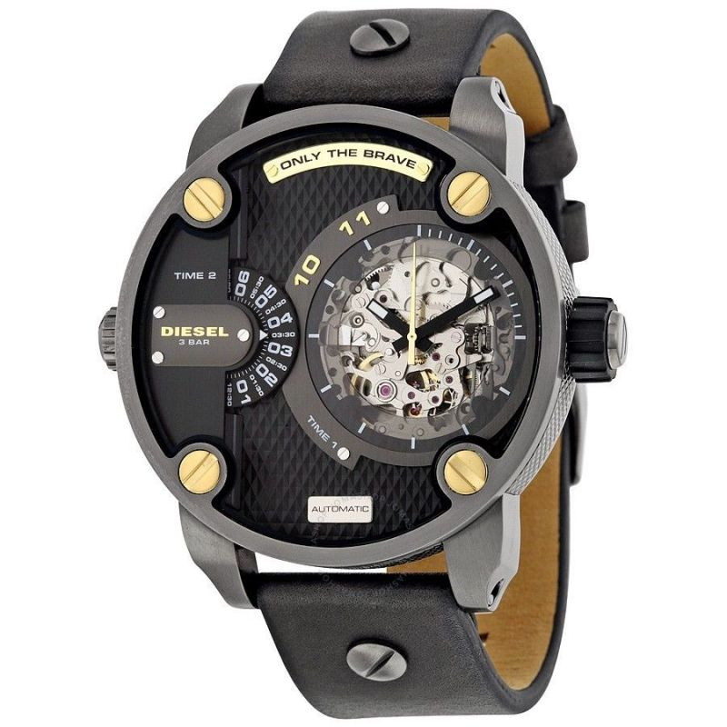 Buy Diesel Little Daddy Automatic Skeleton Men's Leather Strap Watch online
