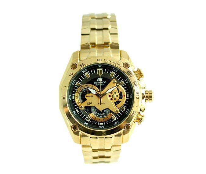 casio watches gold color best watchess 2017 casio 550 black dial full gold chain watch for men