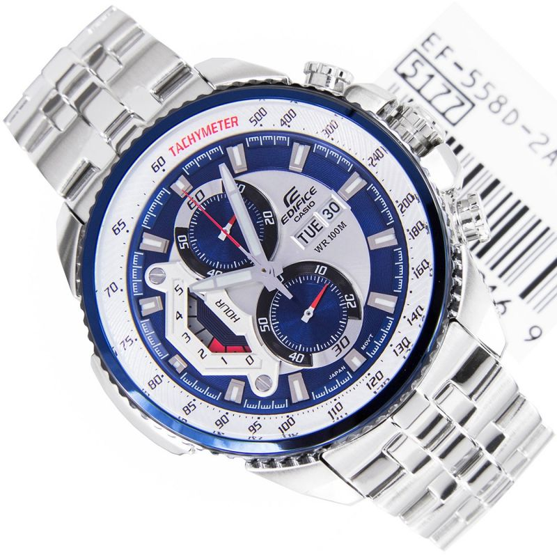 Buy Casio 558 Blue And White Dial With Silver Chain Watch For Men online