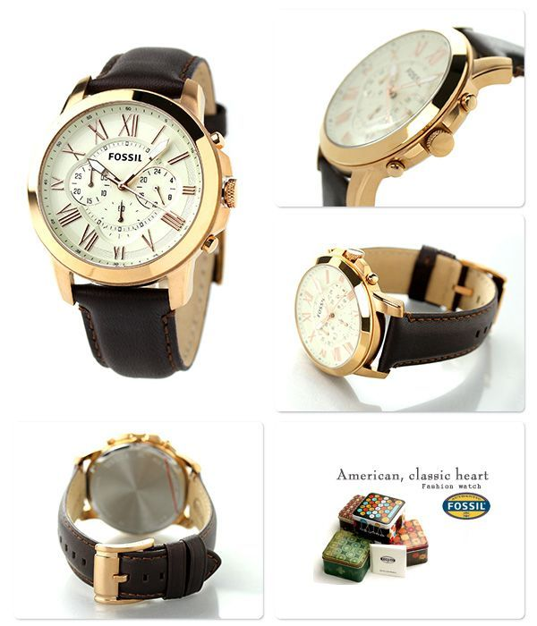 Buy Imported Fossil Grant Chronograph Eggshell Dial Brown Leather Men's Watch Fs4991 online