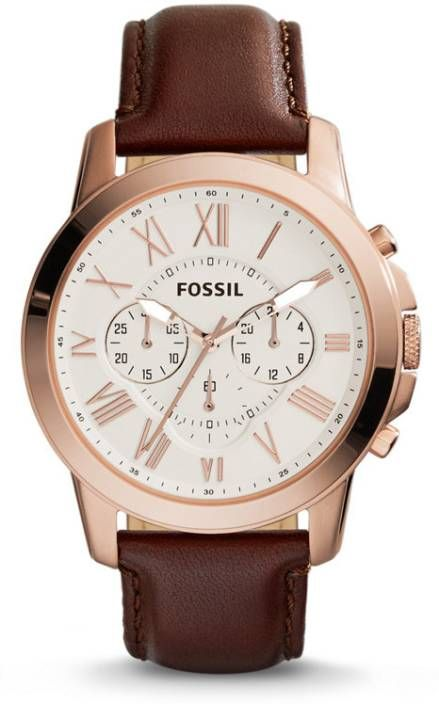 Buy Imported Fossil Fs4991 Mens Analog Quartz Watch With Leather Strap online