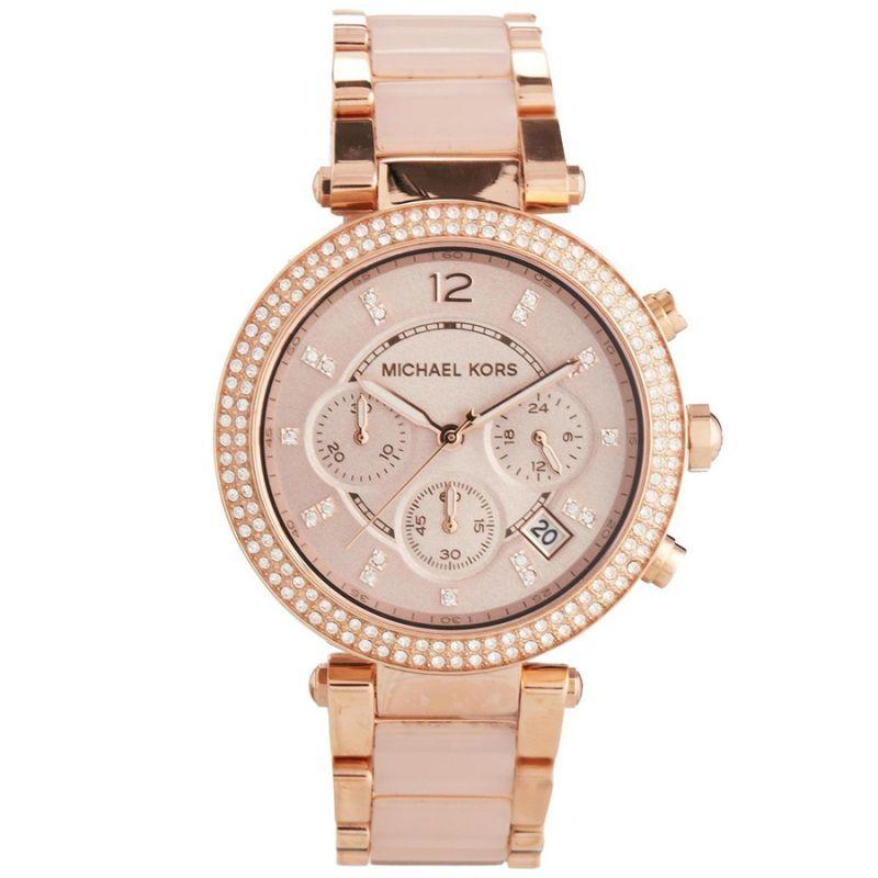 Buy Michael Kors Ladies Parker Rose Gold Blush Chronograph Designer Watch Mk589 online