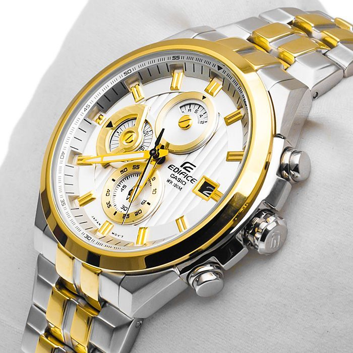 buy casio edifice ef 556d 7avdf silver gold two tone band buy casio edifice ef 556d 7avdf silver gold two tone band chronograph watch online best prices in rediff shopping