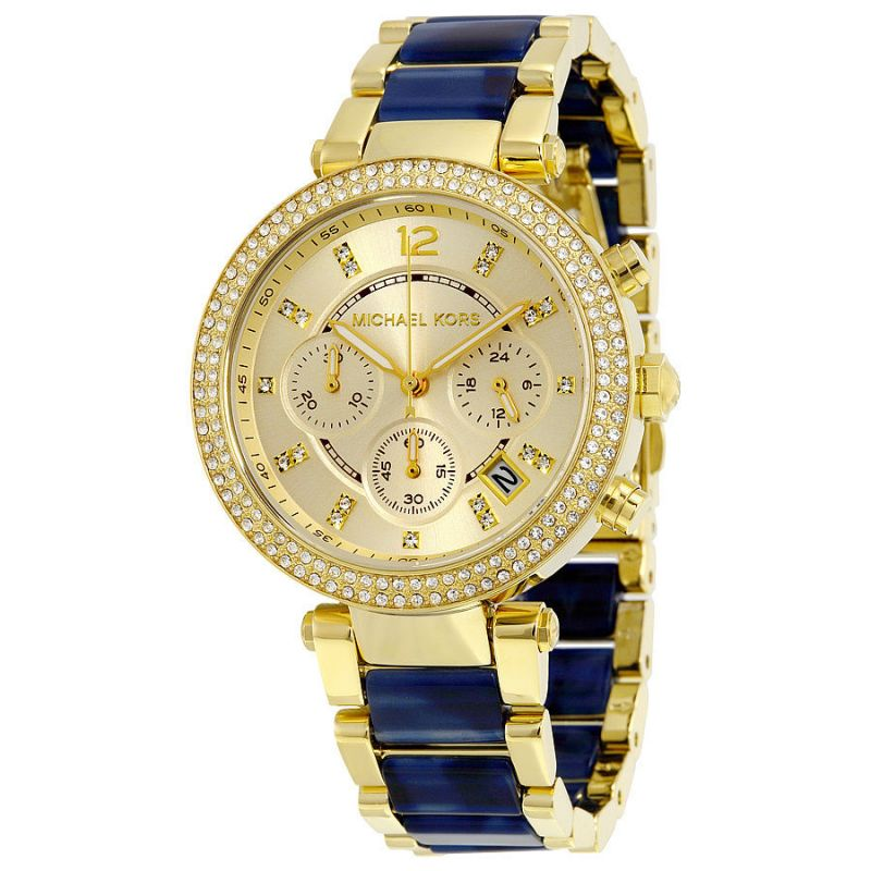 Buy Michael Kors Women's Mk6238gold-blue Chronograph Watch online