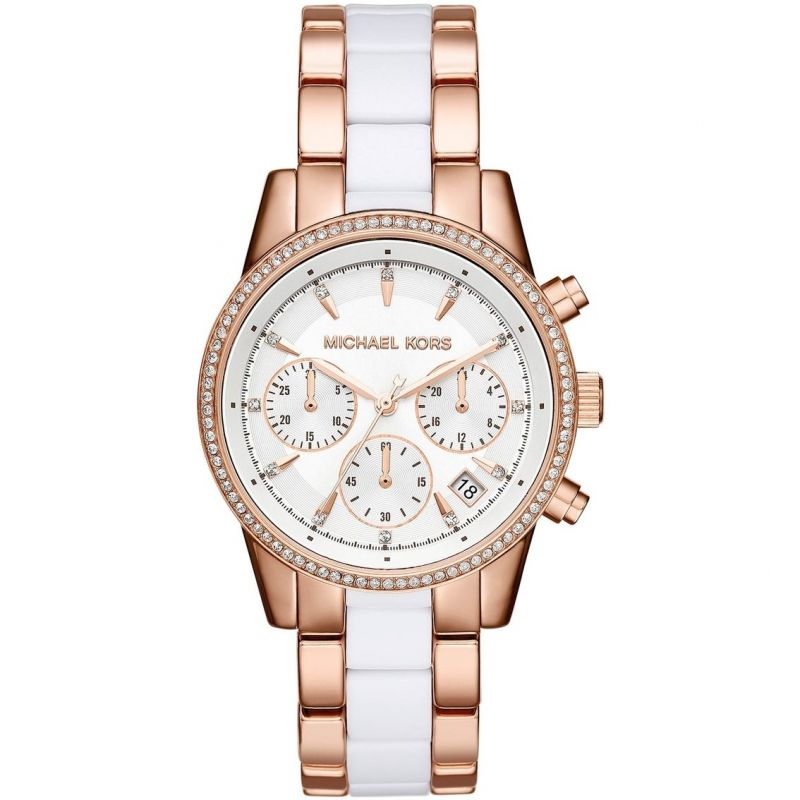Buy Michael Kors Ritz Chronograph White Dial Rose Gold-Tone White Dial online
