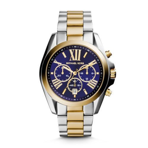 Buy Imported Michael Kors Bradshaw Two Tone Rare Blue Dial Chronograph Watch Unisex online