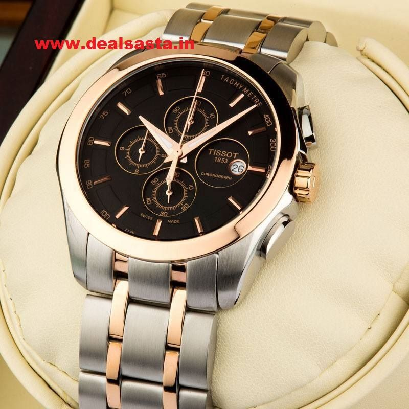 Buy Imported Tissot Couturier Black Dial Silver And Rosegold Chain Watch For Men online