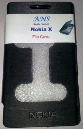 Buy Ans Nokia X Android Black Faux Leather Caller ID Flip Diary Case Cover Pouch online