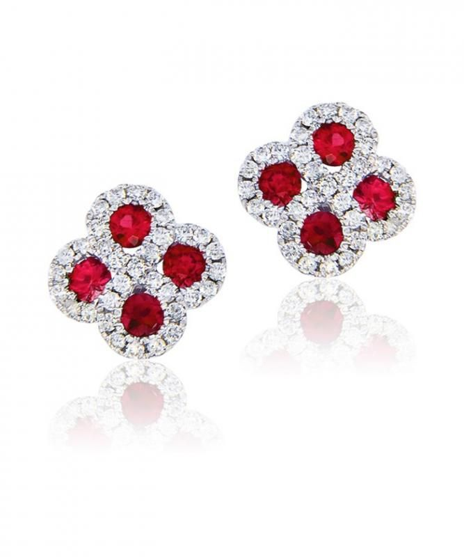 Buy Sheetal Diamonds 0.38tcw Real Round Shape Diamond With Ruby Awesome Looking Earring E0190-18k online