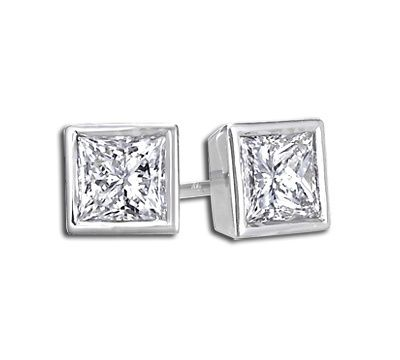 Buy Sheetal Diamonds 0.30tcw Exclusive Real Princess Cut Diamond Stud Earring E0262-14k online