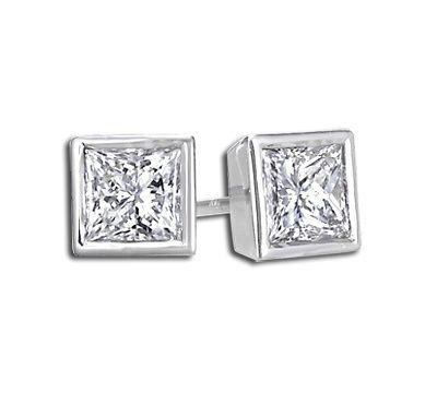 Buy Sheetal Diamonds 0.30tcw Awesome Real Princess Diamond Stud Earring E0262-18k online