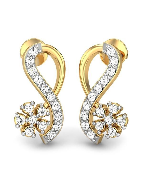 Buy Sheetal Diamonds 0.70tcw Real Round Diamond Stud Earring For Woman E0343-18k online