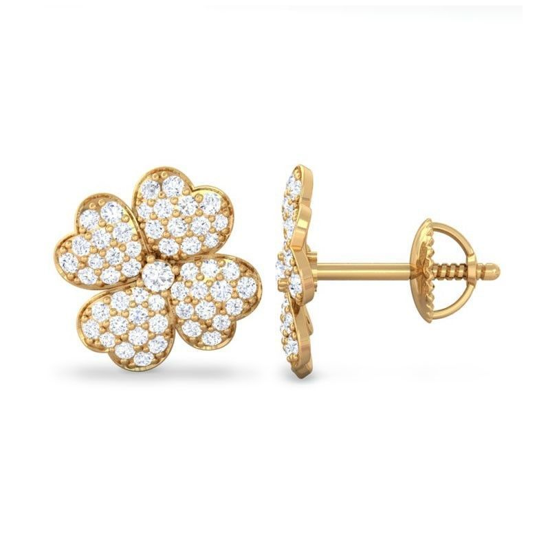 Buy Sheetal Diamonds 1.00tcw Real Round Diamond Floral Shape Stud Earring E0360-10k online