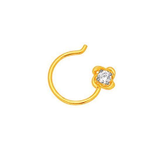 Buy Sheetal Diamonds 0.10tcw Exclusive Round Shape Single Diamond Beautiful Nose Pin P-n001-10k online