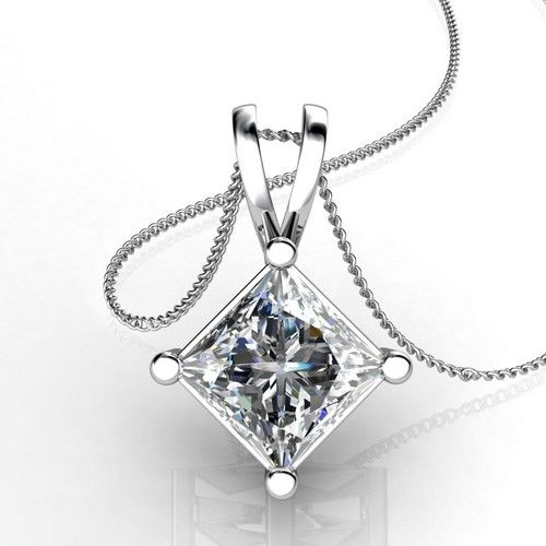 Buy Sheetal Diamonds 0.50tcw Exclusive Real Princess Cut Diamond Pendant Without Chain P0120-18k online