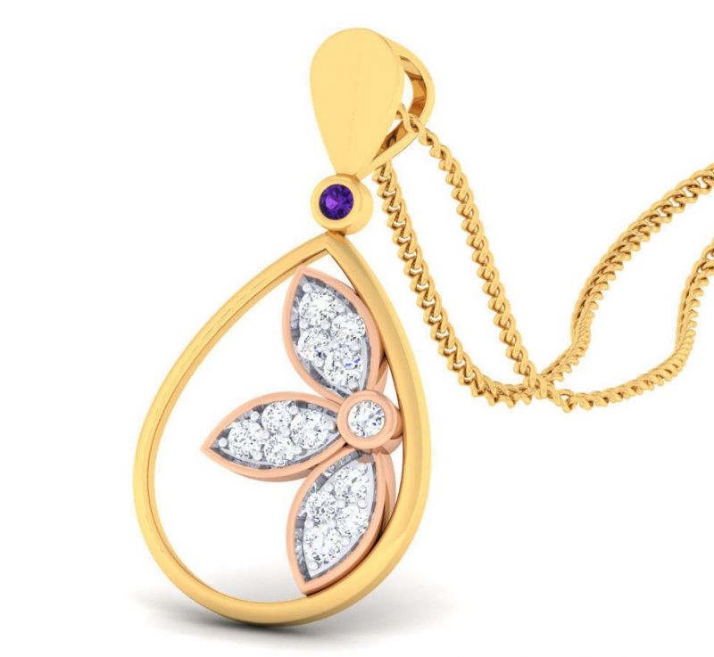 Buy Sheetal Diamonds 0.30tcw Real Round Diamond Daily Wear Designer Pendant P0178-18k online