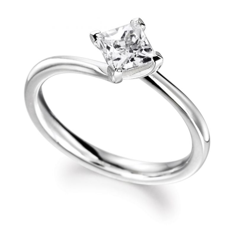 Buy Sheetal Diamonds 0.15tcw New Fashionable Real Round Princess Diamond Engagement Ring 18k White Gold R0255-18k online
